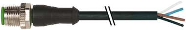 M12 Power T-coded male 0° with cable