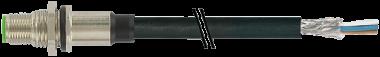 M12 St. Flansch Y-cod. gesch. Hinterwandmontage