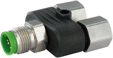 T coupler M12 male / 2x M12 female shielded, V2A