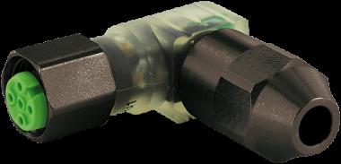 MOSA M12 Bu. 90° 3LED Schneidklemme V2A SC