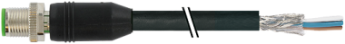 M12 male 0° shielded Y-cod. with cable, Hybrid