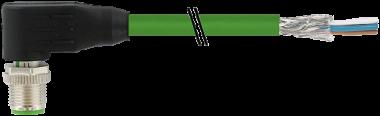 M12St.gew.geschirmt d-cod,freies Ltg-ende,Ethernet