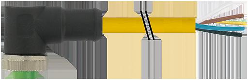 Mini (7/8) 5 pole, Female 90° w/ Cable,