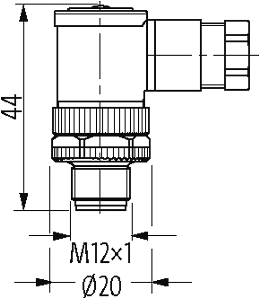 M12 male 90° T-coded field-wireable